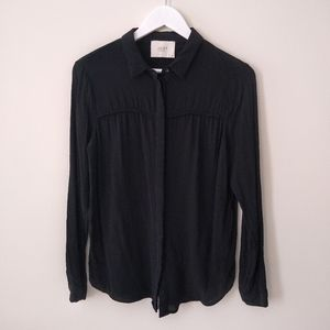 Just Female black long sleeve button-down top